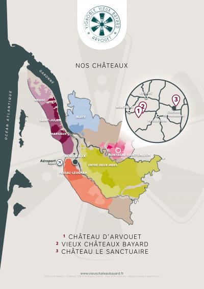 Vieux Château Bayard - Arvouet - Carte du vignoble bordelais